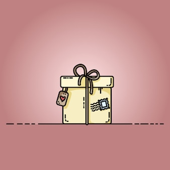 Parcel gift box with a stamp. vector flat illustration