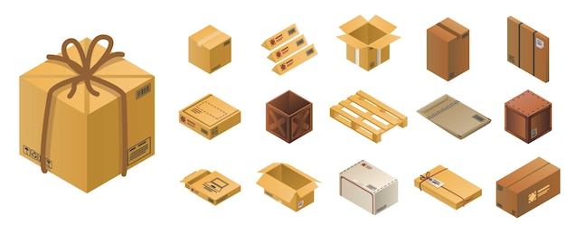 Parcel icon set, isometric style