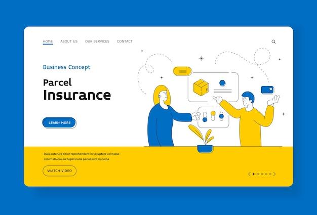小包保険のランディングページのバナーテンプレート。現代の男性と女性は、ウェブサイトでオンラインで注文しながら、設定を調整し、配達の料金を支払います。フラットスタイルのイラスト、細い線画のデザイン