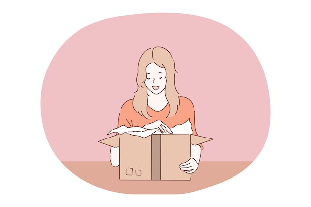 Parcel, order delivery, holiday present in box concept.