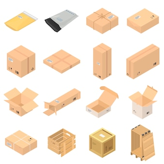 Parcel packaging box icons set