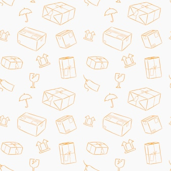 Parcel service handling with care hand drawn style seamless pattern.