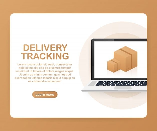 Parcel tracking website on laptop screen template