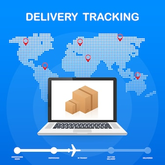 Parcel tracking website on laptop screen