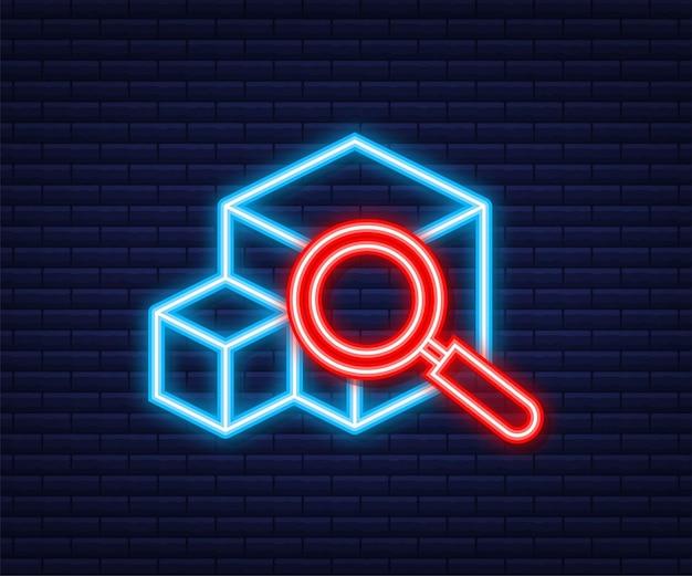 荷物追跡ウェブサイト。ネオンアイコン。オンラインパッケージ追跡。現代のコンセプト。ベクトルストックイラスト。