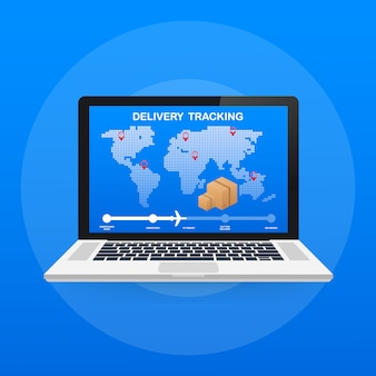 Сайт отслеживания посылок на экране ноутбука