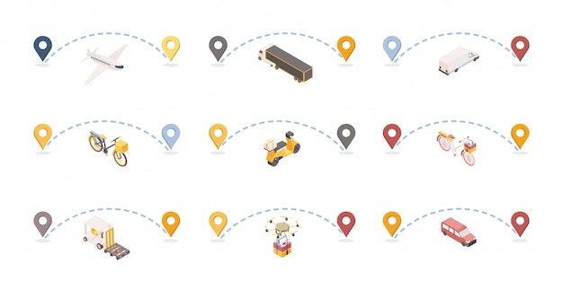 Parcels delivery routes isometric illustrations set.