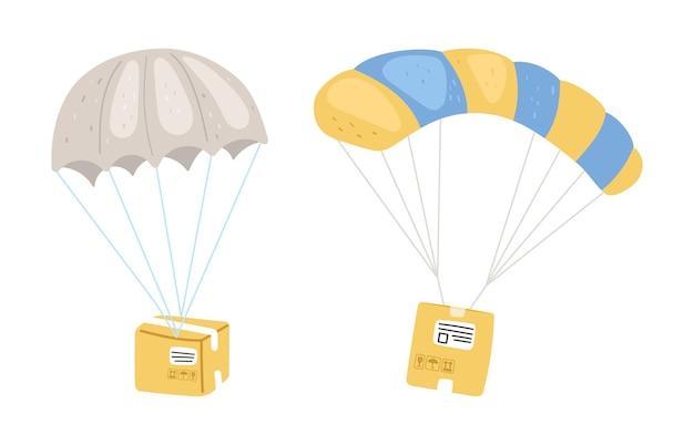 パラシュート付きの小包。スマートデリバリーの比喩を表現します。 Premiumベクター