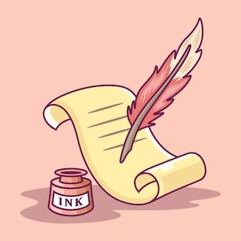 羊皮紙と羽ペンアイコンイラスト。紙に書く羽ペン。ピンクの背景に分離されたツールアイコンコンセプト白
