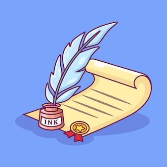 羊皮紙と羽ペンアイコンイラスト。メダルで紙に書く羽ペン。ツールアイコンコンセプト白紫の背景に分離