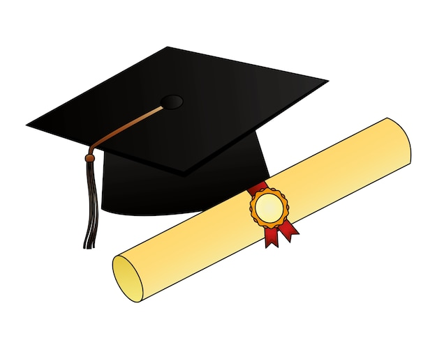 Parchment diploma and hat graduation