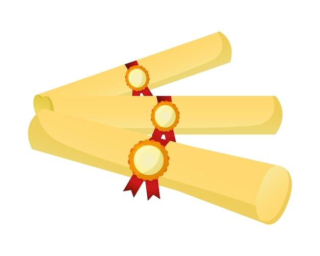 Parchment diplomas graduation icon
