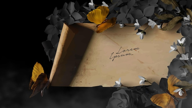 Parchment scroll template with beautiful flowers and butterfly