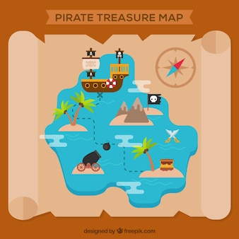 Parchment with pirate treasure map
