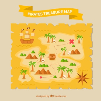 Parchment with ship and pirate treasure route