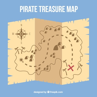 Parchment with treasure map in flat design