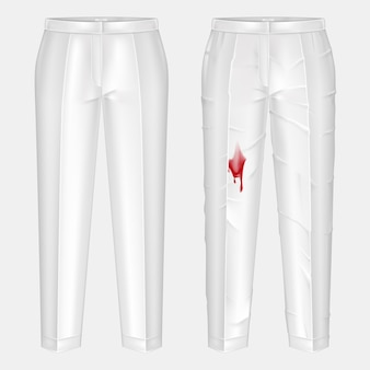 Pare of dirty, rubbed with blood blotch and ironed, shiny clean white womens pants