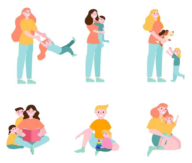 親子セット。幸せな女と子供は一緒に時間を過ごします。父は彼の子供を保持しています。子供の遊びと親とハグ。イラストのセット