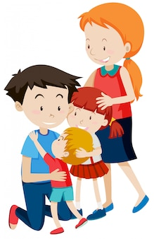Parent and children on white background