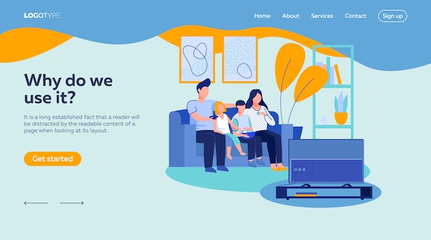 Parent couple, boy and girl watching tv landing page template