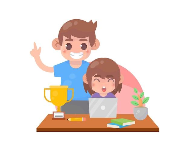 親は子供を教えるのを手伝う Premiumベクター