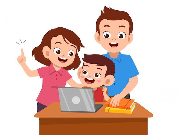 Parent help teach kid