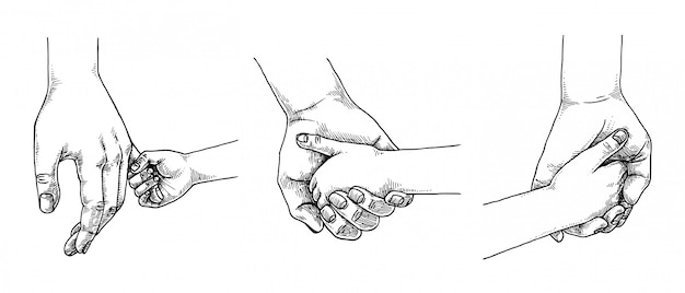 Parent hold child hand set, hand drawn illustration