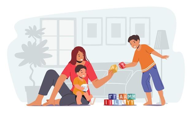 子供と遊ぶ親、幸せな家族の余暇。愛情深いお母さんと陽気な子供たちの暇な時間。母と幼い息子は床に座っておもちゃで遊ぶ。女性と男の子の楽しみ。漫画のベクトル図