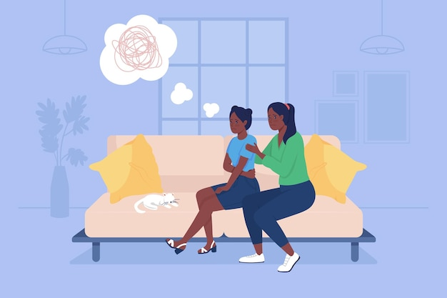 Parent support sad teenage girl 2d vector isolated illustration. depressed child with mother sit on couch. family at home flat characters on cartoon background. teenager problem colourful scene
