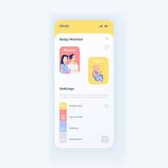 Parent surveillance smartphone interface vector template. mobile app page white design layout. baby remote watching for mother and father screen. flat ui for application. phone display