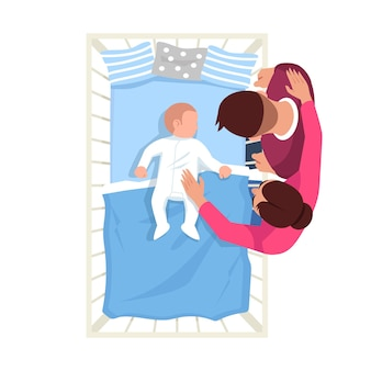 Parent watch infant sleep semi flat rgb color vector illustration. caucasian newborn in bed. mother and father with baby. family isolated cartoon characters top view on white background