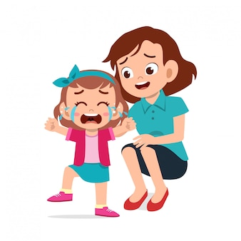 Parent with kid child cry