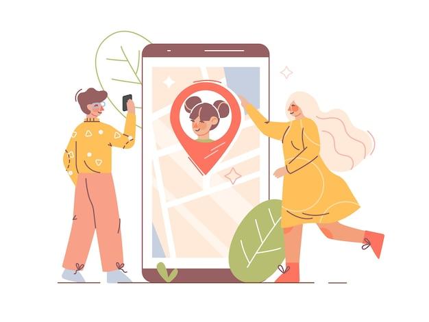 子供のリアルタイムの場所のためのペアレンタルコントロールアプリ。ジオロケーション追跡アプリケーションを使用してスマートフォンを介して子供の居場所を監視する親。フラットスタイルの子供の保護と安全の概念。