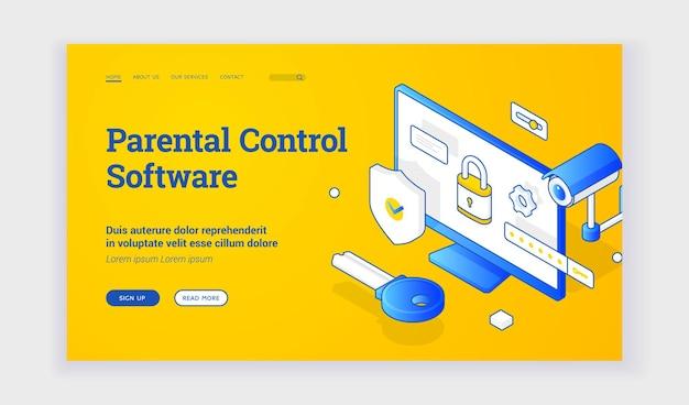 자녀 보호 소프트웨어. 자녀 보호 소프트웨어에 대한 서비스를 나타내는 감시 및 잠긴 홈 컴퓨터의 파란색 요소가 있는 아이소메트릭 벡터 랜딩 페이지 템플릿. 아이소메트릭 웹 배너