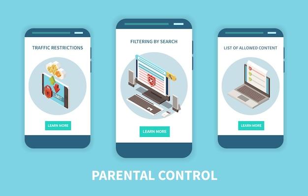보호자 디지털 제어 자문 앱 콘텐츠 필터링 트래픽 제한이있는 3 개의 수직 모바일 스마트 폰 화면