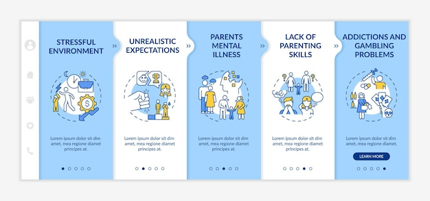 Parental emotional abuse onboarding  template. stressful environment. unrealistic expectation. responsive mobile website with icons. webpage walkthrough step screens. rgb color concept