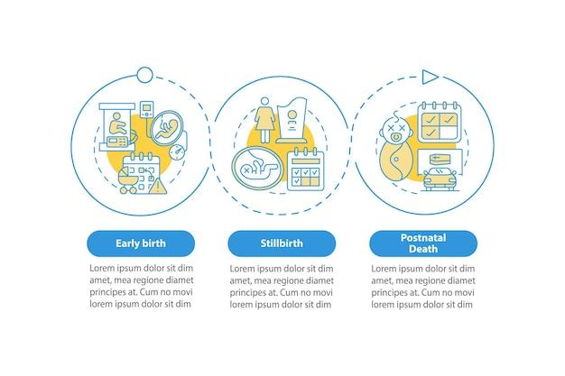 Шаблон векторной инфографики случаев предоставления отпуска по уходу за ребенком. элементы дизайна схемы презентации. визуализация данных в 3 шага. информационная диаграмма временной шкалы процесса. макет рабочего процесса с иконками линий