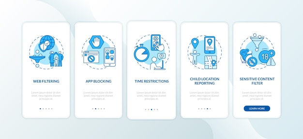Parental monitoring elements onboarding mobile app page screen with concepts
