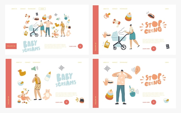 Parenthood, maternity, mother care landing page template set