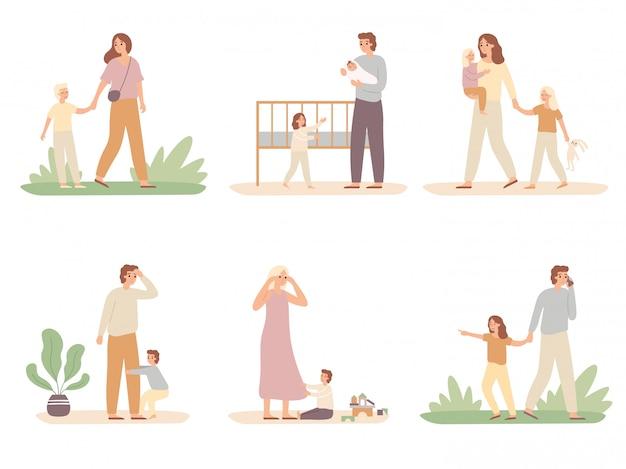 親の問題。泣いている子供と疲れた親、疲れたお父さんと子供たちは母親のベクトルイラストセットから注意を求めています