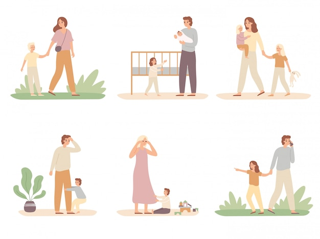 Parenthood problems. crying child and tired parents, exhausted dad and kids want attention from mother vector illustration set