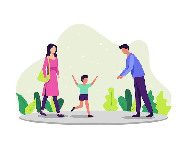 子育ての概念図。一緒に時間を楽しんでいる家族、両親とその息子。その少年は父親に駆け寄った。フラットスタイルのベクトル図