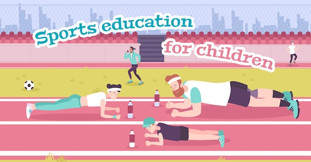 Parenting in sports flat illustration with father mother and their son training on stadium