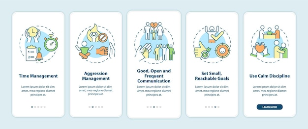 Parenting tips for adhd onboarding mobile app page screen. time management walkthrough 5 steps graphic instructions with concepts. ui, ux, gui vector template with linear color illustrations