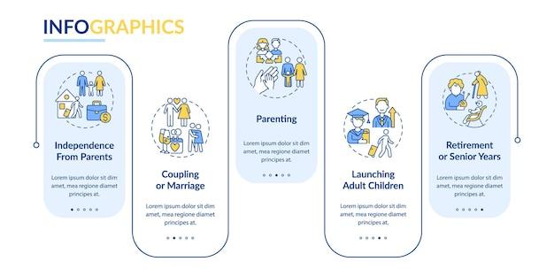 육아 벡터 infographic 템플릿입니다. 은퇴 또는 노년 프레젠테이션 개요 디자인 요소. 5단계로 데이터 시각화. 타임라인 정보 차트를 처리합니다. 라인 아이콘이 있는 워크플로 레이아웃