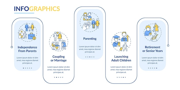 Parenting vector infographic template. retirement or senior years presentation outline design elements. data visualization with 5 steps. process timeline info chart. workflow layout with line icons