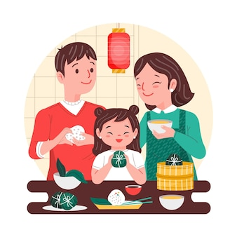 Родители и ребенок делают zongzi