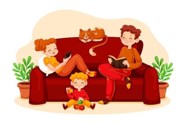 집에서 함께 시간을 보내는 부모와 자식