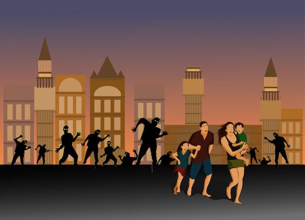 부모와 자녀가 도시 거리의 좀비에서 도망 치고 있습니다.