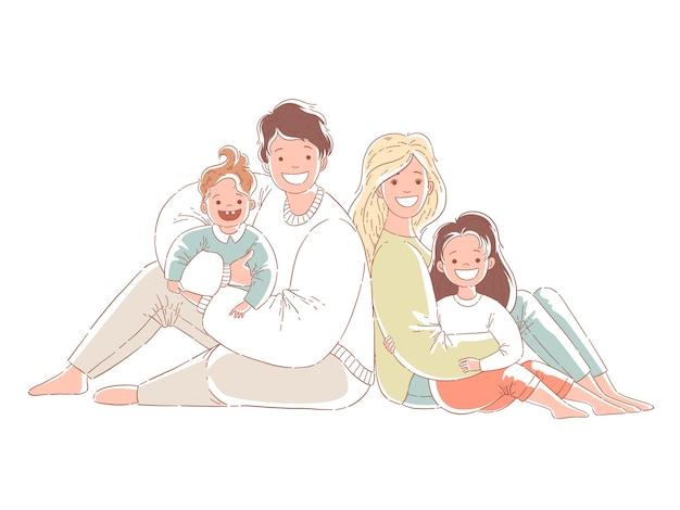 На полу сидят родители и дети. счастливая семья. нарисованные рукой иллюстрации дизайна стиля. изолированные на белом фоне.